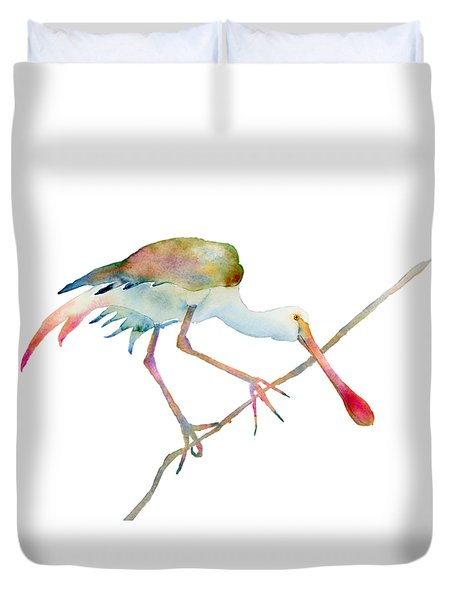 Spoonbill  Duvet Cover by Amy Kirkpatrick