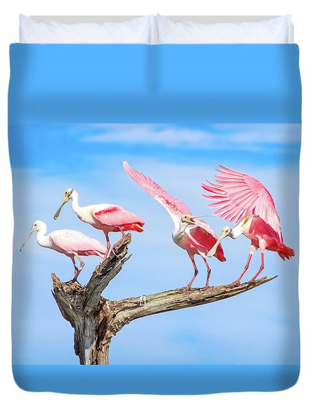 Spoonbill Party Duvet Cover by Mark Andrew Thomas