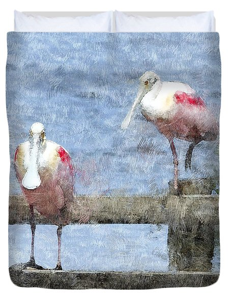 Spoonbills Hanging Out Duvet Cover by Betty LaRue