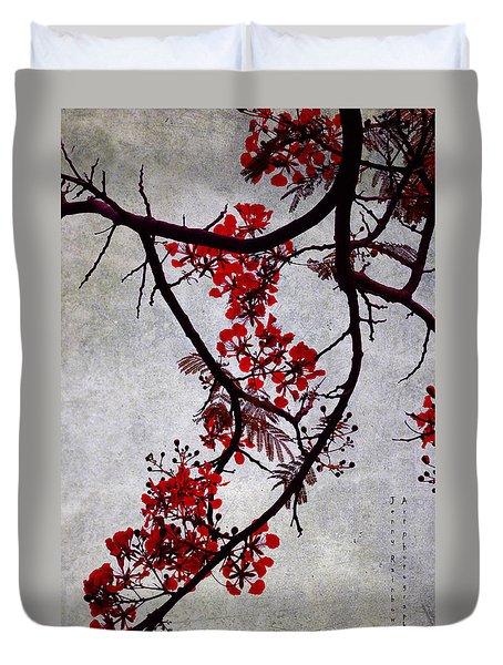 Spring Bloosom In Maldives. Flamboyant Tree II. Japanese Style Duvet Cover by Jenny Rainbow