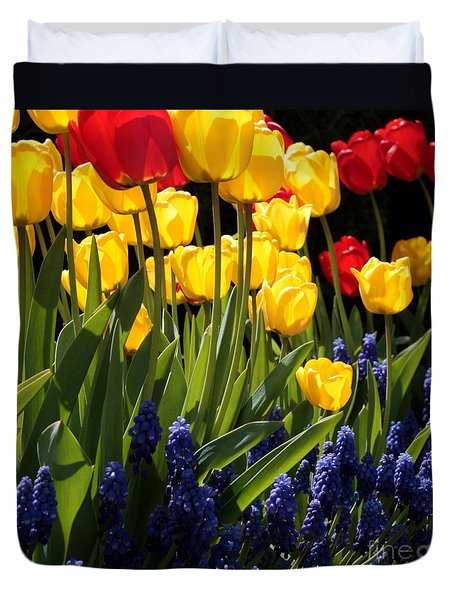 Spring Flowers Square Duvet Cover by Carol Groenen