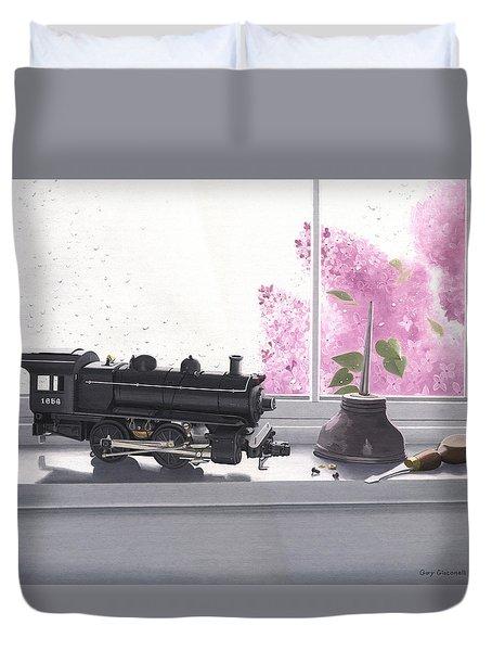 Spring Rain  Electric Train Duvet Cover by Gary Giacomelli