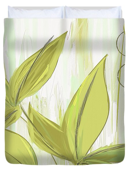 Spring Shades - Muted Green Art Duvet Cover by Lourry Legarde