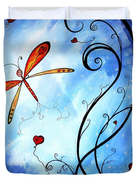 Springs Sweet Song Original Madart Painting Duvet Cover by Megan Duncanson