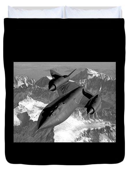 Sr-71 Blackbird Flying Duvet Cover by War Is Hell Store