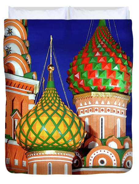 St Basils Cathedral In Moscow Russia Duvet Cover by Oleksiy Maksymenko
