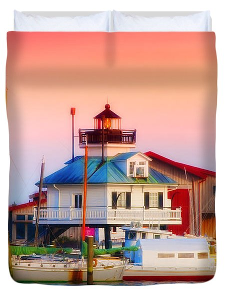 St. Michael's Lighthouse Duvet Cover by Bill Cannon
