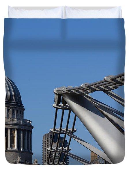 St Pauls Cathedral And The Millenium Bridge  Duvet Cover by David Pyatt