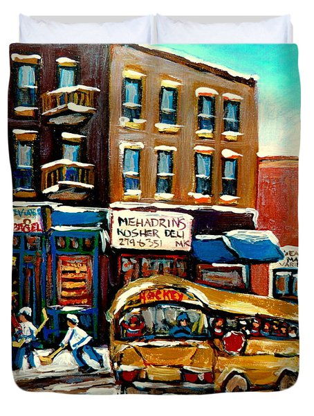 ST. VIATEUR BAGEL WITH HOCKEY BUS  Duvet Cover by CAROLE SPANDAU
