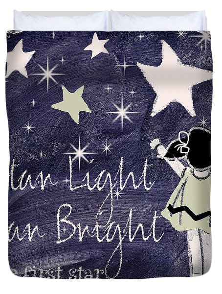 Star Light Star Bright Chalk Board Nursery Rhyme Duvet Cover by Mindy Sommers