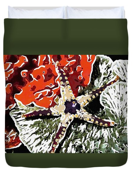 Starfish In Coral Reef 7 Duvet Cover by Lanjee Chee