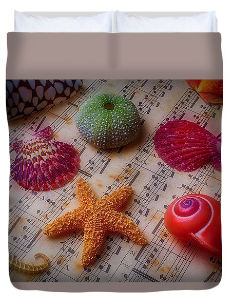 Starfish On Sheet Music Duvet Cover by Garry Gay