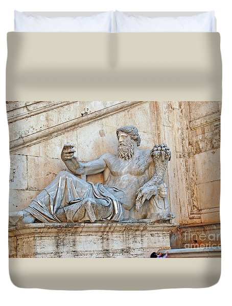 Statue Capitoline Hill Of Rome Italy Duvet Cover by Eva Kaufman
