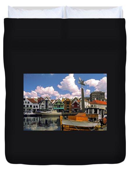 Stavanger Harbor Duvet Cover by Sally Weigand