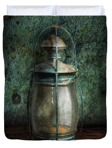 Steampunk - An old lantern Duvet Cover by Mike Savad