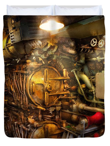 Steampunk - Naval - The torpedo room Duvet Cover by Mike Savad