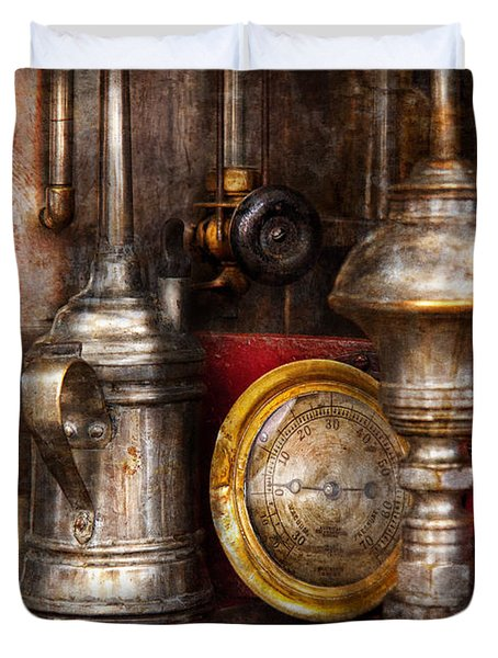 Steampunk - Needs oil Duvet Cover by Mike Savad