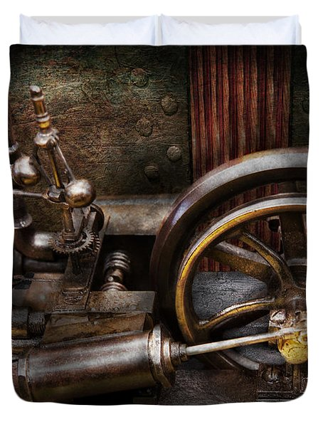 Steampunk - The Contraption Duvet Cover by Mike Savad