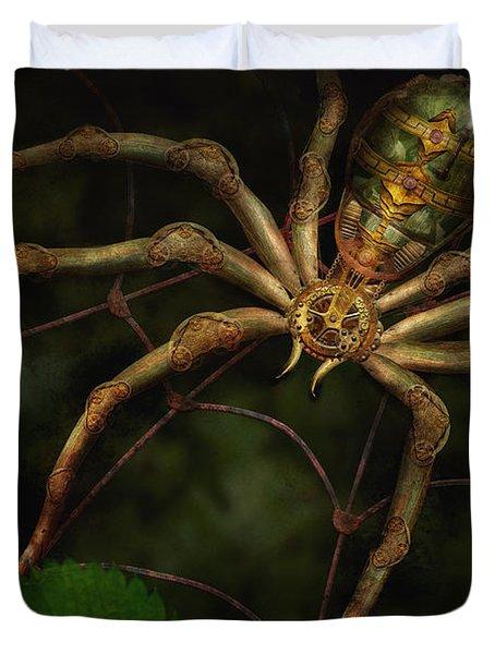 Steampunk - Spider - Arachnia Automata Duvet Cover by Mike Savad