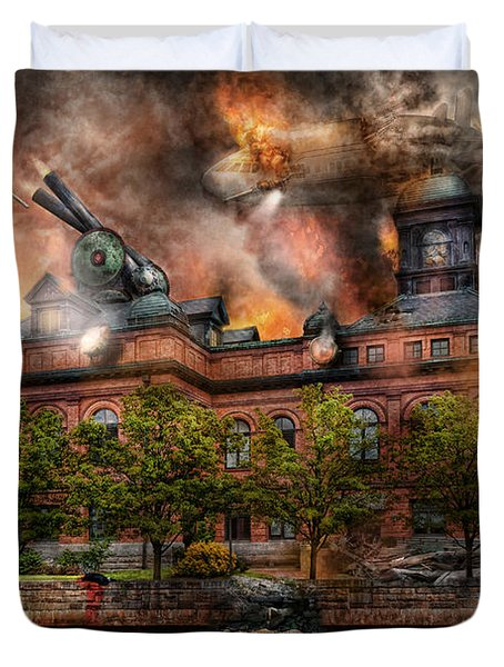 Steampunk - The War Has Begun Duvet Cover by Mike Savad