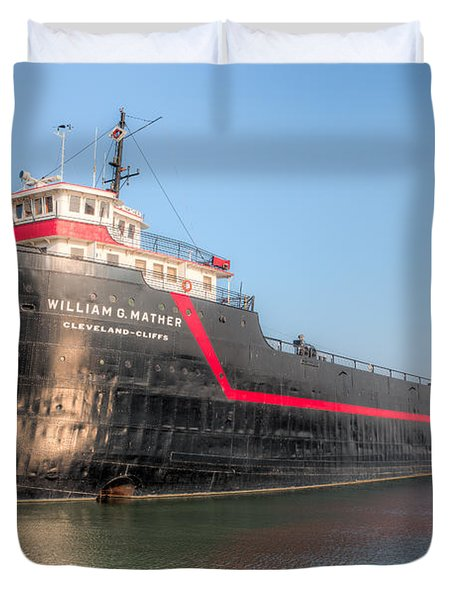 Steamship William G. Mather I Duvet Cover by Clarence Holmes