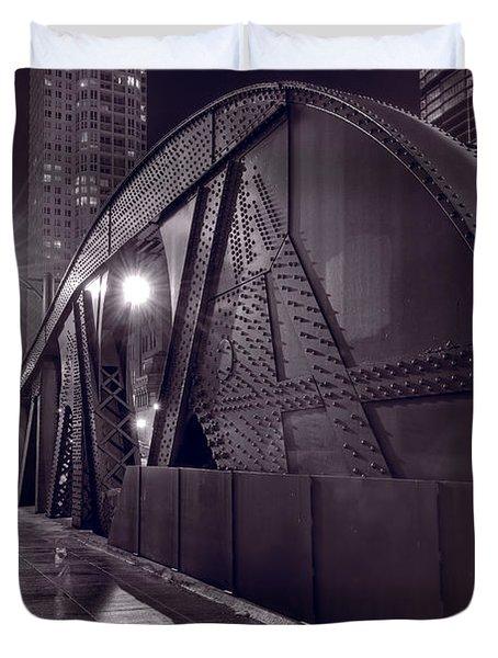 Steel Bridge Chicago Black And White Duvet Cover by Steve Gadomski