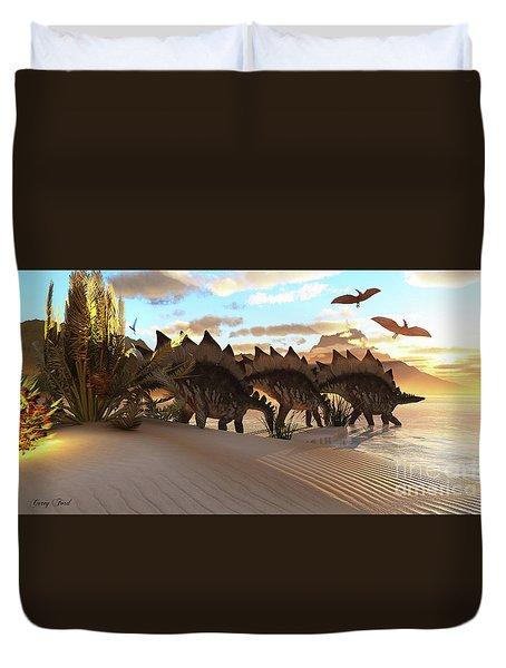 Stegosaurus Dinosaur Duvet Cover by Corey Ford