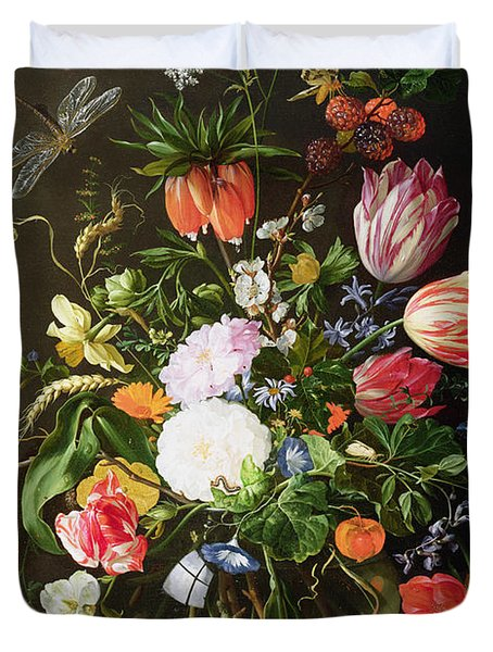 Still Life Of Flowers Duvet Cover by Jan Davidsz de Heem