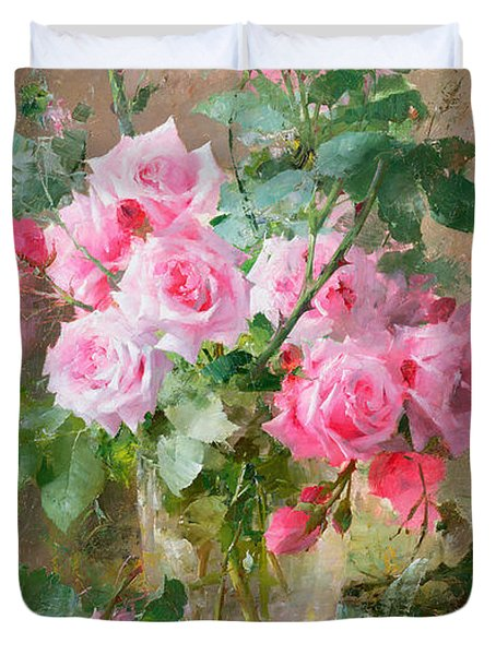 Still Life Of Roses In A Glass Vase  Duvet Cover by Frans Mortelmans