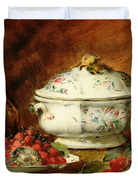 Still Life With A Soup Tureen Duvet Cover by Guillaume Romain Fouace