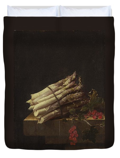 Still Life With Asparagus And Red Currants Duvet Cover by Adriaen Coorte