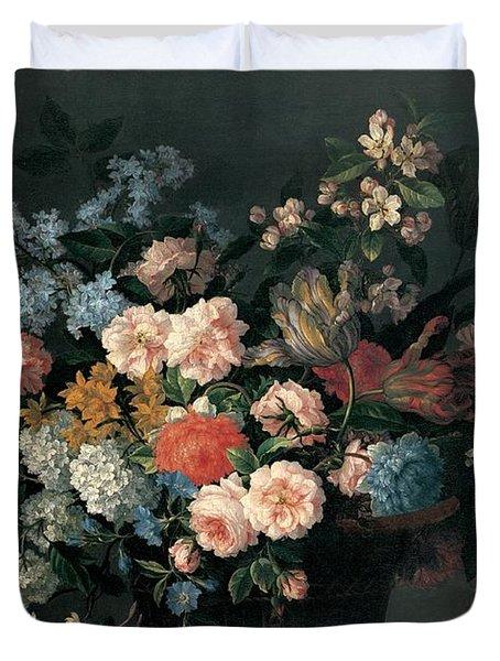 Still Life With Basket Of Flowers Duvet Cover by Jean-Baptiste Monnoyer