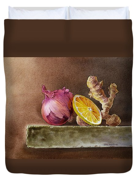 Still Life With Onion Lemon And Ginger Duvet Cover by Irina Sztukowski