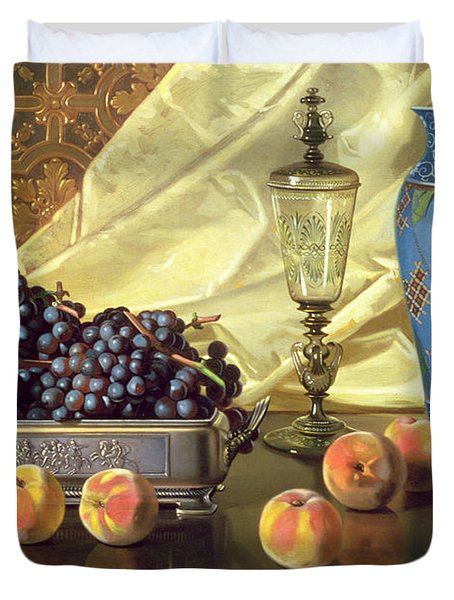 Still Life With Peaches Duvet Cover by Edward Chalmers Leavitt