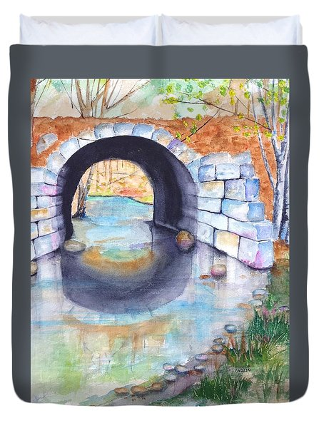 Stone Arch Bridge Dunstable Duvet Cover by Carlin Blahnik
