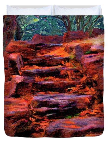 Stone Steps in Autumn Duvet Cover by Jeff Kolker