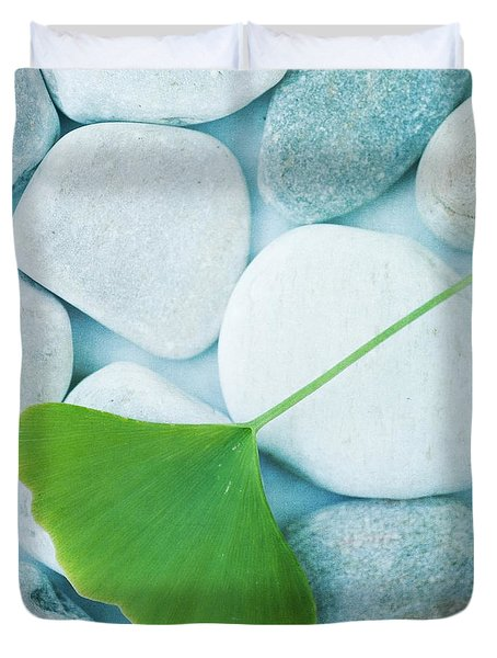 Stones And A Gingko Leaf Duvet Cover by Priska Wettstein