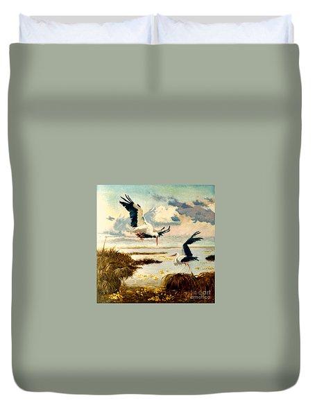 Storks II Duvet Cover by Henryk Gorecki