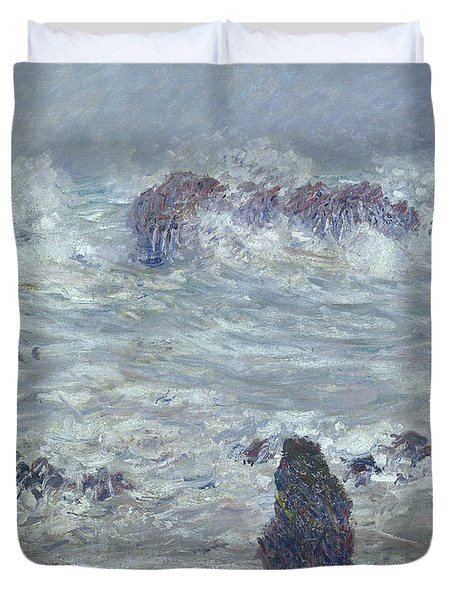 Storm Off The Coast Of Belle Ile Duvet Cover by Claude Monet