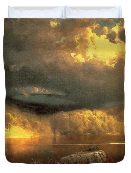 Stormy Skies Above Echo Lake White Mountains  Duvet Cover by Fairman California