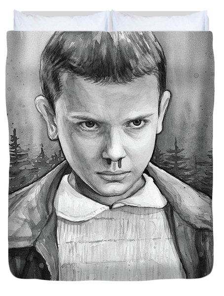 Stranger Things Fan Art Eleven Duvet Cover by Olga Shvartsur