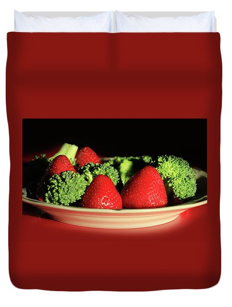 Strawberries And Broccoli Duvet Cover by Lori Deiter