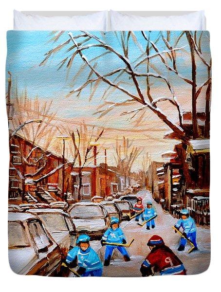 Street Hockey On Jeanne Mance Duvet Cover by Carole Spandau