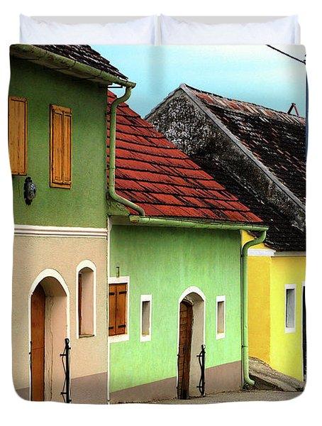 Street of Wine Cellar Houses  Duvet Cover by Mariola Bitner