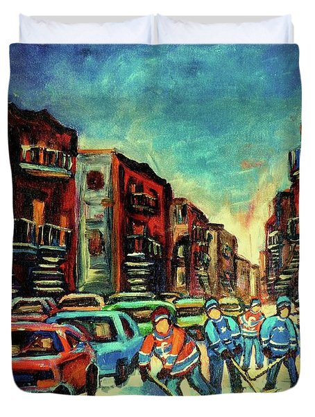 Streetscenes Of Montreal Hockey Paintings By Montreal Cityscene Specialist Carole Spandau Duvet Cover by Carole Spandau