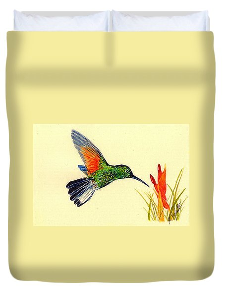 Stripe Tailed Hummingbird Duvet Cover by Michael Vigliotti