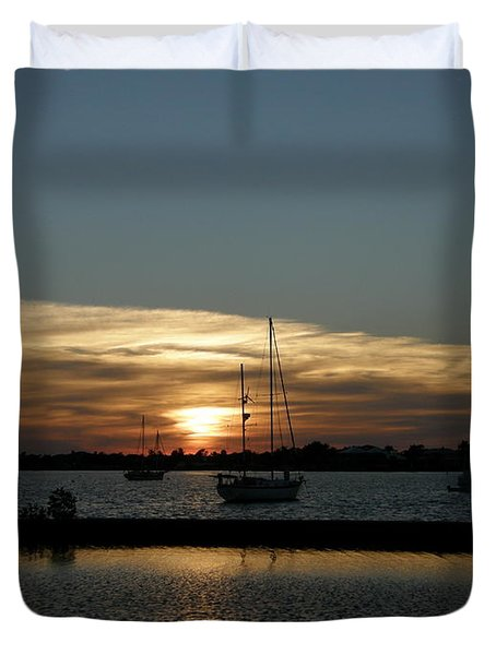 strolling in the sunset Duvet Cover by Kimberly Mohlenhoff