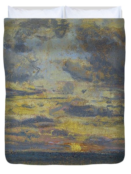 Study Of The Sky With Setting Sun Duvet Cover by Eugene Louis Boudin