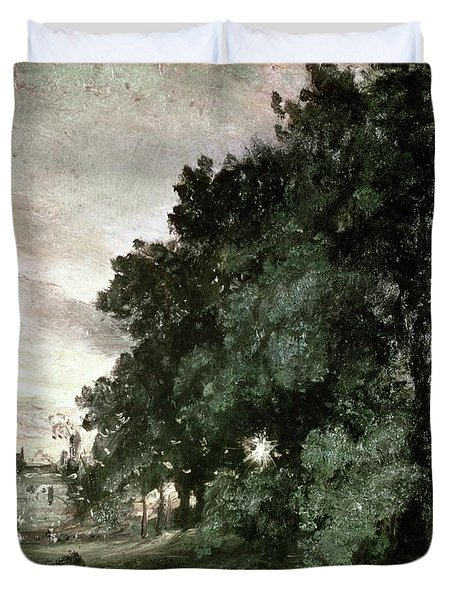 Study Of Trees Duvet Cover by John Constable