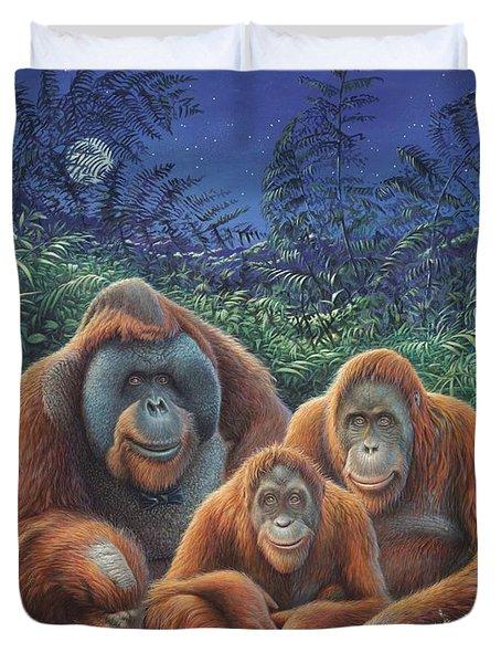 Sumatra Orangutans Duvet Cover by Hans Droog